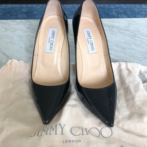 Jimmy Choo anouk black pantent leather pumps